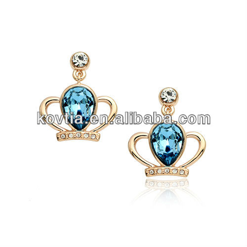 Dubai gold plated crown crystal earring jewelry importer distributor wholesale