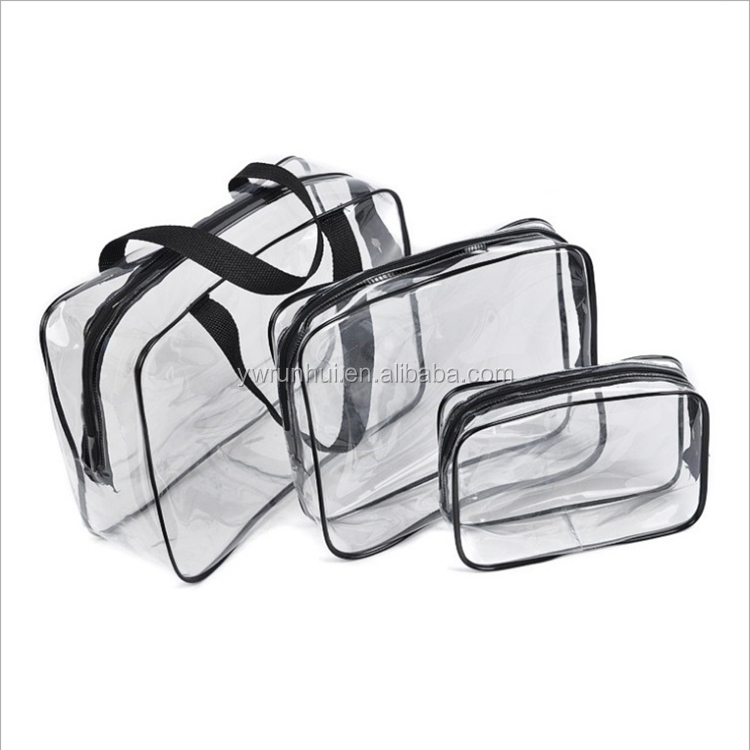 3 pieces makeup pouch travel clear PVC toiletry bag