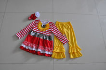 Lowest price children clothing sets girls fall 2pcs matching kids wear china