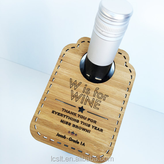 custom wooden neck hanging wine bottle security tag