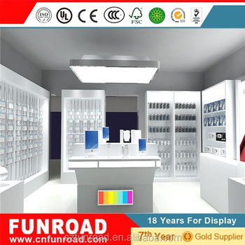 Modern digital products store wooden display stands with LED lighting for sale