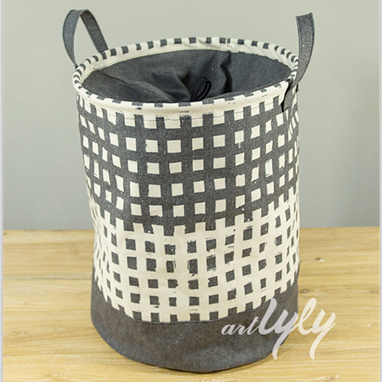 Cotton Linen Fabric Folding Laundry Hamper Collapsible Storage Basket Foldable Laundry Basket