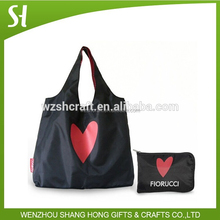 black custom reusable folding shopping bags/nylon foldable shopping bag/polyester tote bag