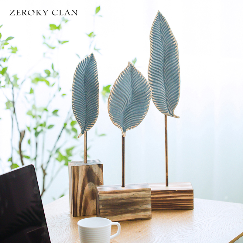 Ceramic Leaf-shape Home <strong>Decor</strong> Office <strong>Decor</strong> With Wood Base Gift