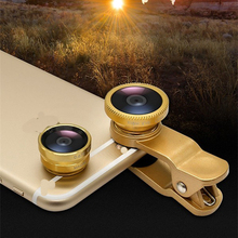 Universal 3 in 1 Clip Lens Wide Angle+Fisheye+Macro Set Mini Camera Lens for iPhone