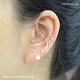 2019 New Arrive Pearl Rhinestone Unique No piercing Clip On 925 Sterling Silver Earrings Ear Cuff