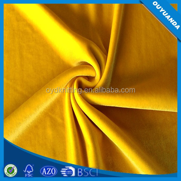 4 Way Stretch Fabric Warp Knitting Brushed Polyester Spandex Velvet