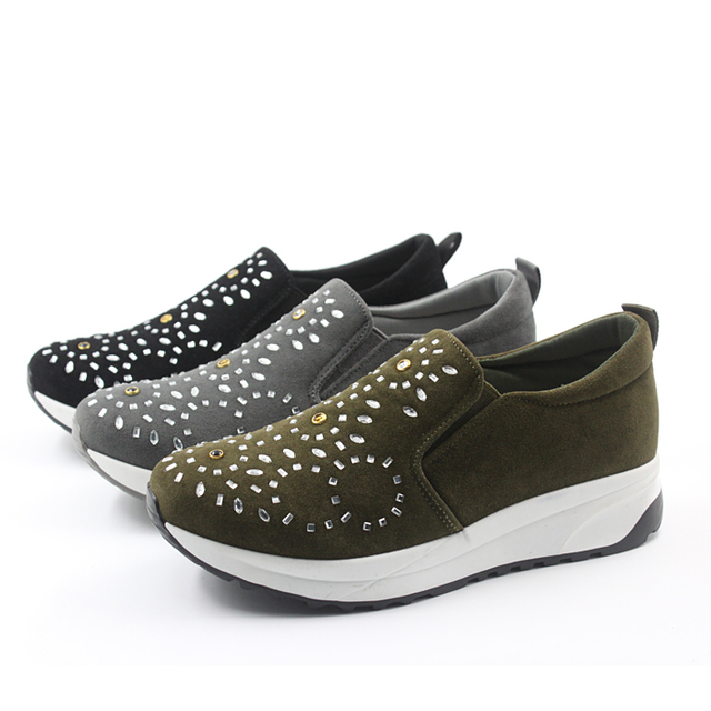 ladies slip on suede crystal sports shoes
