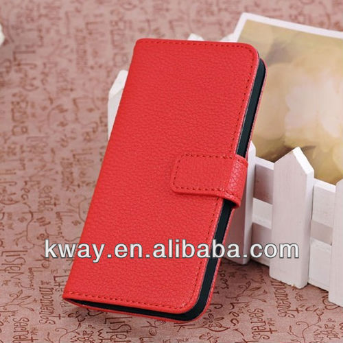 Litchi Skin Leather Flip Hard Back Case Cover Stand for iPhone 5 with Card Slot KSH156