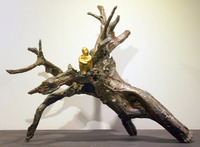 Modern indoor root wood sculpture with natural style