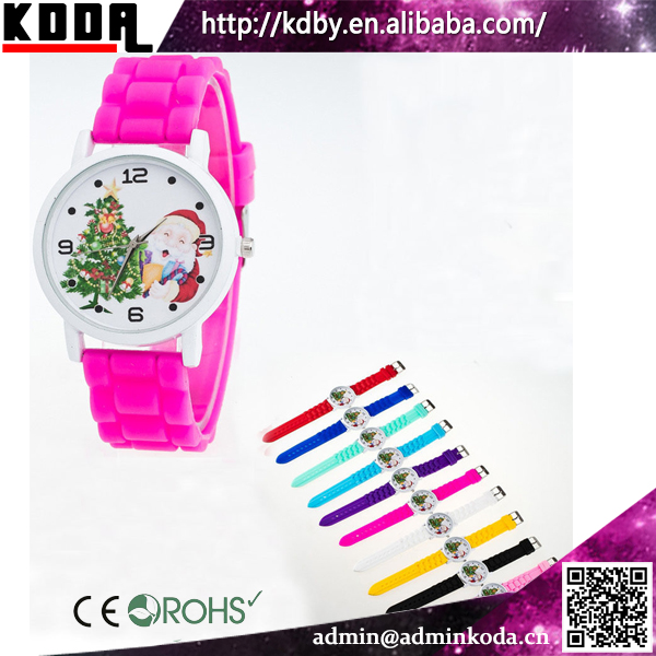Xmas Santa Colorful Jelly Silicone Band Christmas Gift Watches Silicon