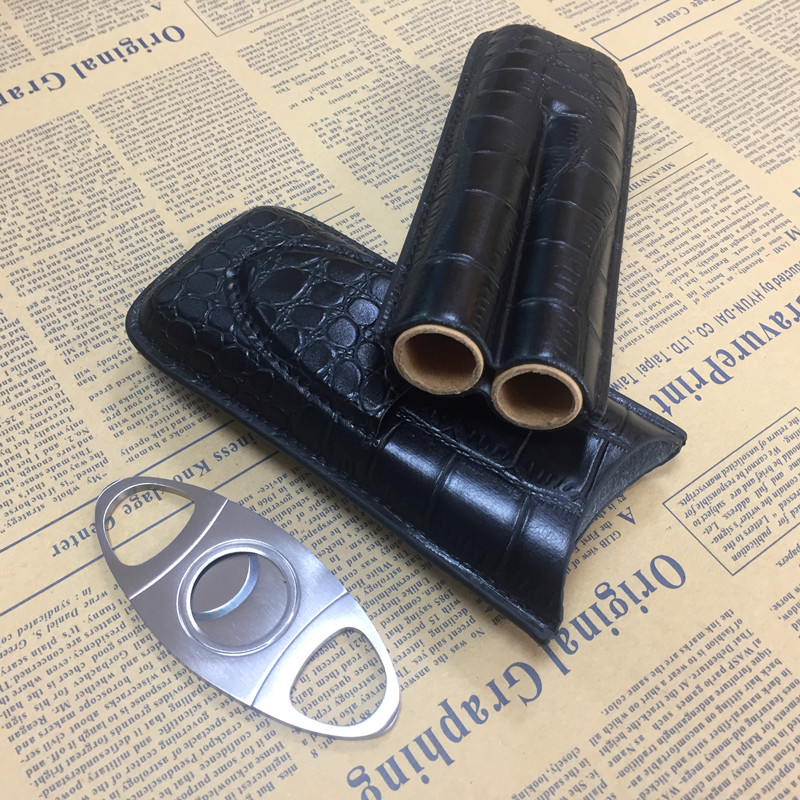 Black crocodile leather cigar case with cutter