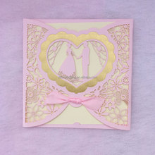 Beautiful ribbon decorated laser cut and embossing invitation card