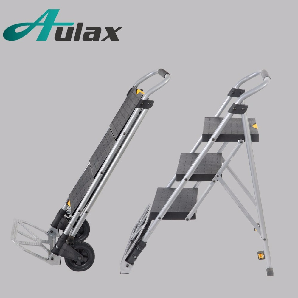 2017 top selling folding wide 3 step ladder trolley with wheel