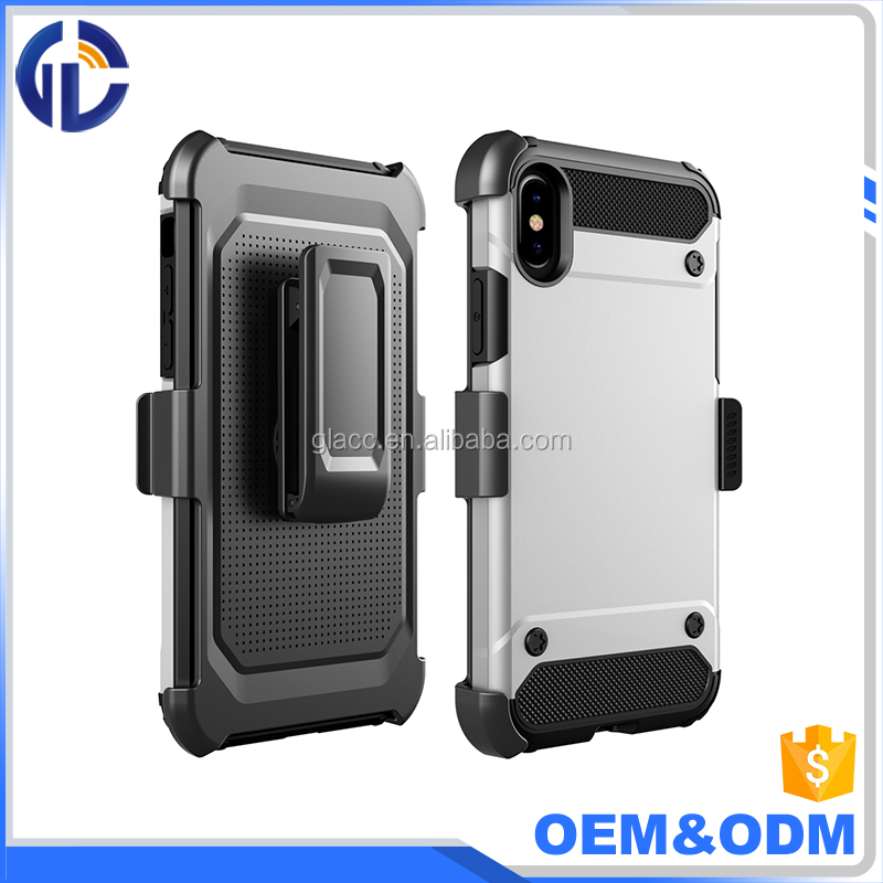New Hot High Quality Phone Accessories Slim Armor Case with Belt Swivel Clip Holster For Iphone X
