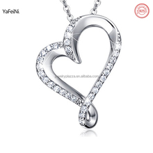 White gold 925 silver silver sideway heart pendant pave crystal diamond necklace for girlfriend