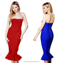 European size off-shoulder backless sexy bandage party evening dress for women