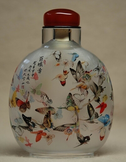 Chinese antique hand painted snuff bottle with painting inside
