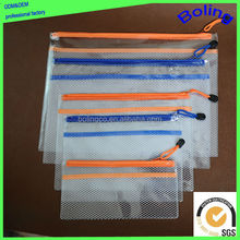 Custom Factory clear plastic PVC file bag transparent mesh zipper bag waterproofing document bag
