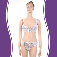 Comfortable quick dry white lace sexy stylish hot fancy bra and panty set