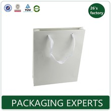 wholesale white paper bag custom paper shopping bag custom print with ribbon handle