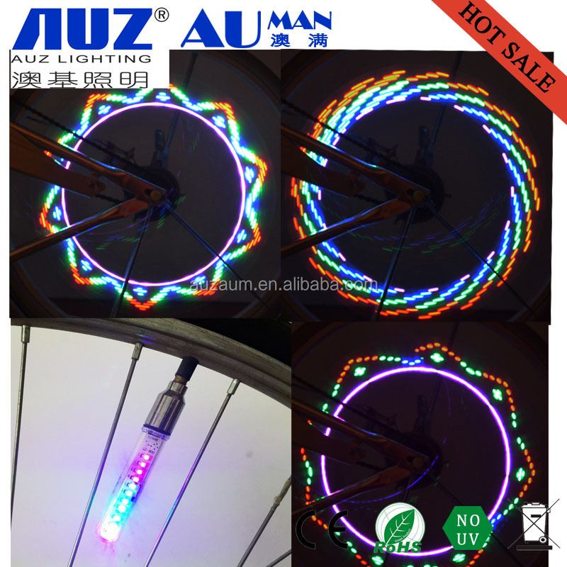 2016 most popular double side flash blue pink red green led zinc alloy valve bike wheel light made in china