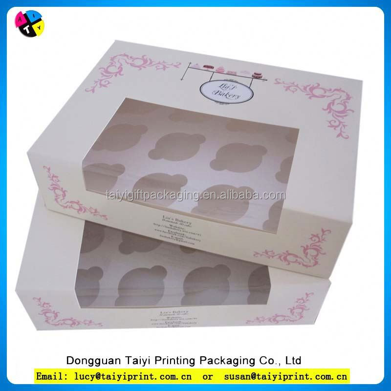 Custom lovely pink paper cupcake box small cake box