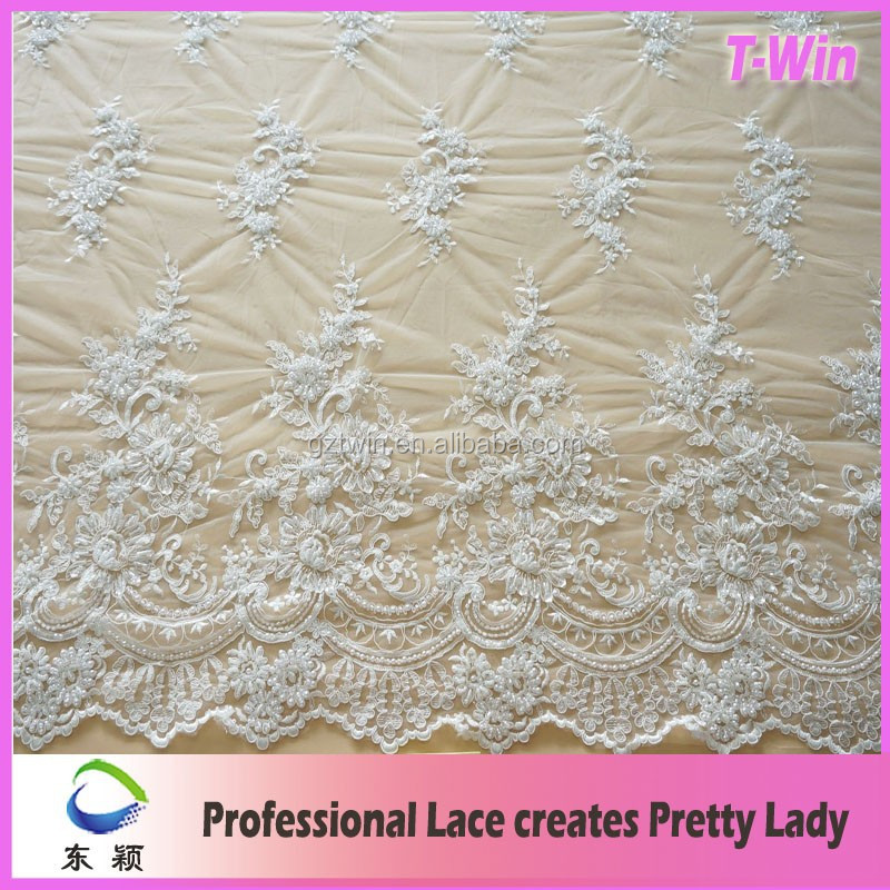 High quality pure white wedding lace dress beaded embroidery white bridal tulle lace fabric for garment