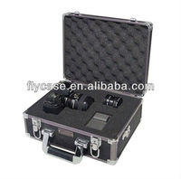 2014 design aluminum digital camera case with handle in high-density foam padding
