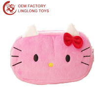 Kawaii Hello Kitty Plush Coin Purses & Wallet Pouch Case Pink Plush Hello Kitty Pen Pencil Bag Square Cat Stuffed Zipper Pouch
