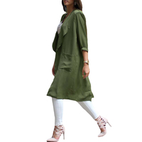 Fashion Chiffon Cardigan Trench Coat for Women Waterfall Open Front Pocket Long Sleeve Thin Coat Blouse Manteau Femme Army Green