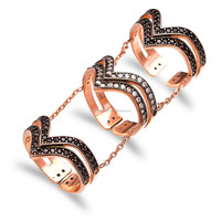 Turkish Wholesale Handcrafted Sterling Double Chain Slave Rose Gold Silver Ring