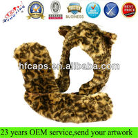 Adult winter faux fake animal fur scarf trapper hat w paw gloves mittens leopard fashion winter animal hat