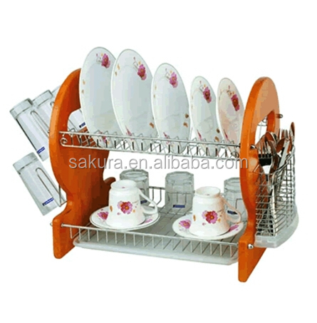 2 TIER HIGH QUALITY CHROME WIRE WOODEN DISH RACK FOR KITCHEN kitchen sink dish rack dish drainer