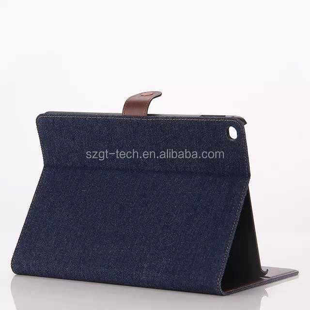 Luxury tablet PC flip leather unique jean cloth wallet card holder case for iPad air 2