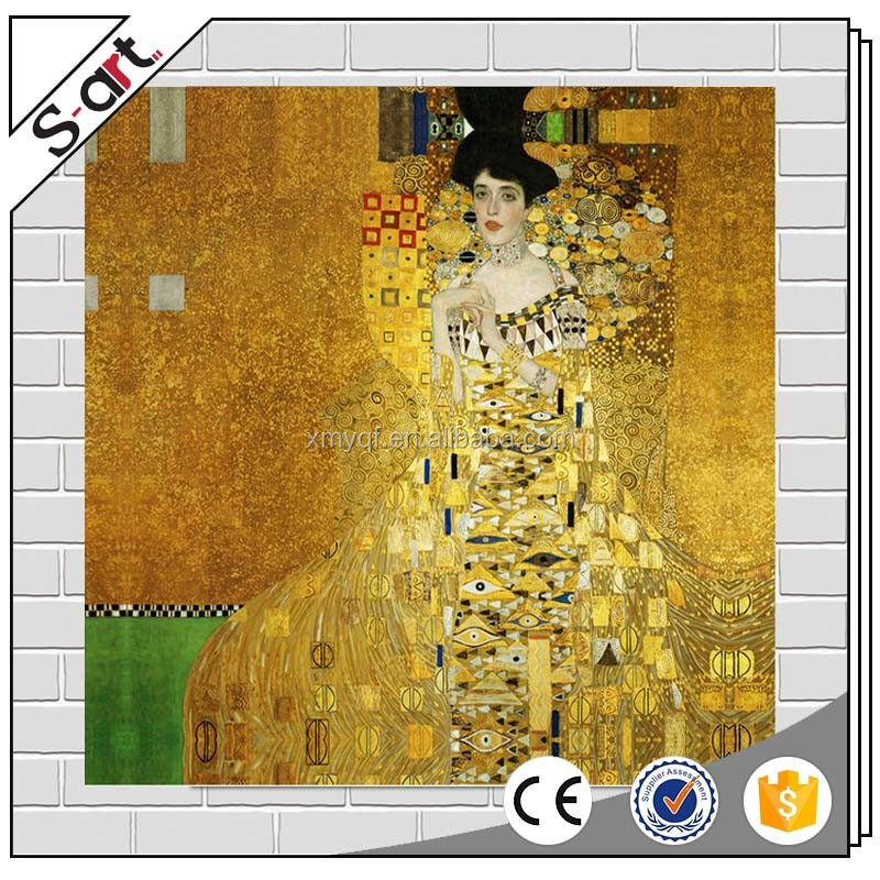 Klimt artwork painting foil art prints for living room home house cafe hotel wall decoration