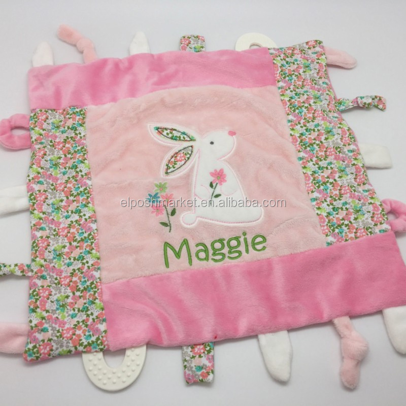 Personalized Toddler Blanket Pink Bunny Baby Blanket