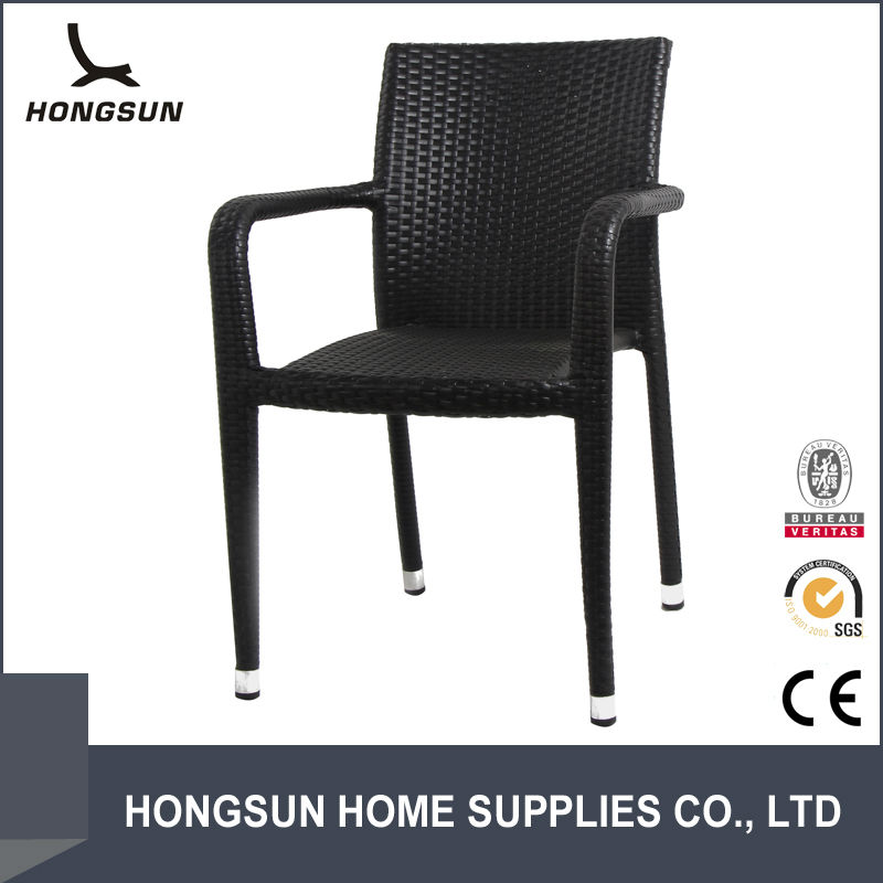 Stackable aluminium small wicker garden chair