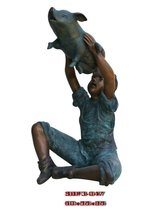 Boy Raise Pig (Bronze Sculpture & Bronze Statue)
