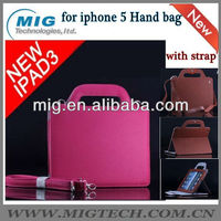 High end Leather bag with hand strap for Ipad 2 3, for ipad case