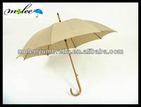 Great Wooden Shaft Straight Umbrella with Wooden Curved Handle