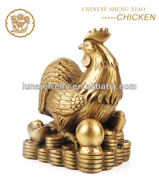 Fabulous Hong Tze Collection-Triple Chinese zodiac animals Resin Rooster statue
