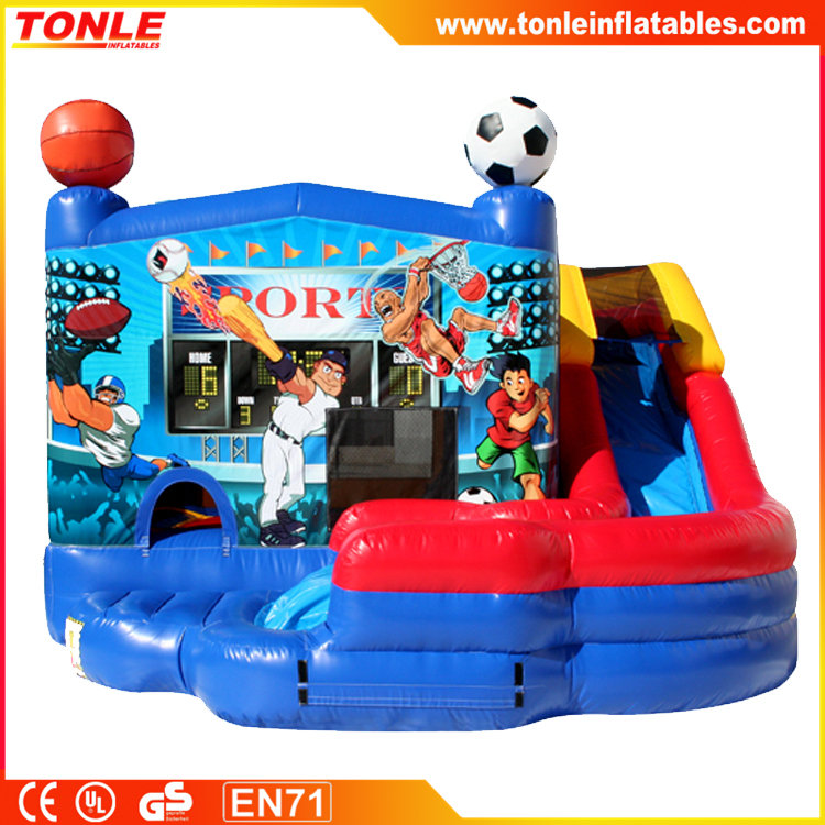 5 in 1 inflatable Sport bouncer slide Combo, inflatable bounce house, inflatable jumper with slide