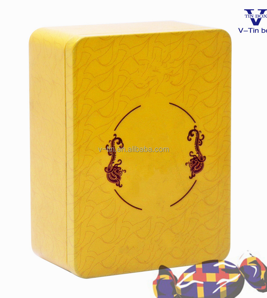 Rectangular shape metal tin box for candy packing