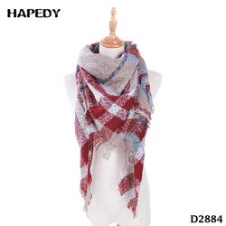 New Arrival Imitation Cashmere Loop Yarn Women Big Square Plaid Shawl Scarf
