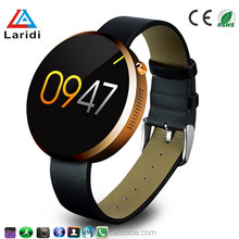 Hot selling waterproof ip66 touch screen round genuine leather smart watch DM360 with heart rate monitor for android and ios