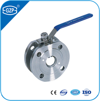 ANSI Stainless steel 304 316L supper thin wafer type lever handle flanged ball valve with floating ball