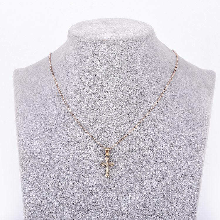 도매 cross necklace jewelry simple 18 k 금 예수 cross 금 펜 던 트 necklace women