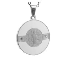 Hot Sell Stainless Steel White Epoxy Religious Saint Benedict Round Crucifix Medals,Medal of St. Benedict Pendant Wholesales