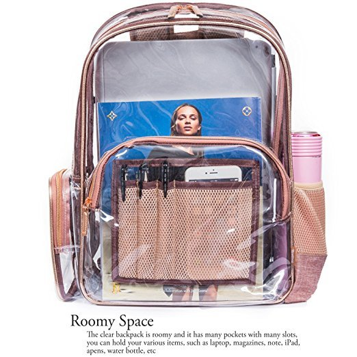 Clear Backpack with Cosmetic Bag & Case, Clear Transparent PVC Multi-pockets School Backpack Outdoor Bookbag Travel Makeup